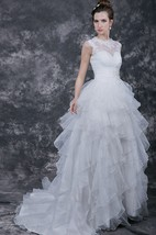 1900's Vintage Inspired Wedding Dress with Pleated Band and Lace Illusion Back Style