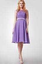 High Neck Lace and Chiffon Short Bridesmaid Dress