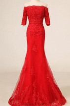 Mermaid Red Long Tulle&Lace Dress