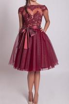 Tulle&Lace&Taffeta Dress With Zipper