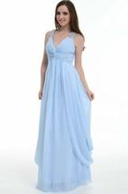 V-Neck Chiffon Empire Dress With Beading And Draping