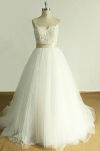 A-Line Sweetheart Tulle Lace Satin Weddig Dress