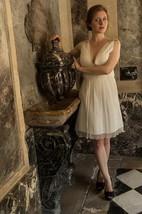 V-Neck Sleeveless Chiffon Wedding Dress With Beading And Low-V Back
