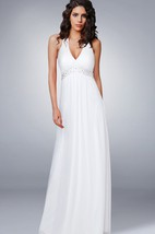 Halter V Neck Empire Chiffon Wedding Dress