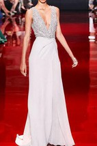 Sleeveless V-neck Chiffon Sequins Dress