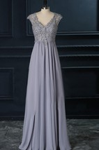 V-Neck A-Line Floor-Length Dress With Lace Top