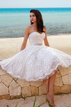 Princess Style Sweety Midi Wedding Dress With Sash