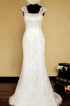 Straps Neck Sheath Long Lace Wedding Dress With Lace-Up Back