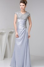 Caped-Sleeve Ruched Sheath Dress with Jewels and Appliques