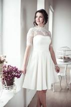 Romantic Lace Half Sleeve High Neck Pleated A-Line Short Wedding Dress
