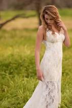 Trumpet Wedding Beach Wedding Low Back Wedding Lace Ivory Beach Dress