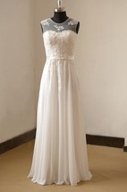 Jewel Neck Chiffon and Lace Bridal Gown With Pearls and Pleats