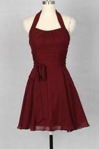 Wine Red Halter Chiffon Bridesmaid Dress