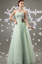 Flattering Strapless A-Line Dress With Satin Sash And Flower