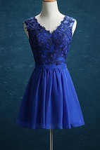 Short Knee-length V-neck Chiffon&Lace&Satin Dress