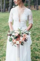 V-Neck Chiffon Satin Lace Wedding Dress