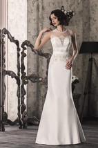 Trumpet Lace Satin Weddig Dress With Illusion Lace-Up Back