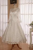 Jewel 3 4 Length Sleeve Low V Back Tea Length Lace Wedding Dress