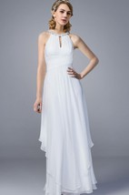Jewel Neck A-line Chiffon Wedding Dress
