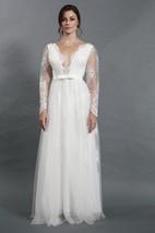 Sexy Deep-V Neck Long Sleeve A-Line Tulle Wedding Dress