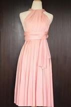 Short Peach Infinity Multiway Bridesmaid Convertible Wrap Dress