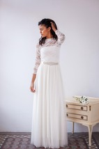 Long Sleeve Tulle Lace Jersey Satin Weddig Dress