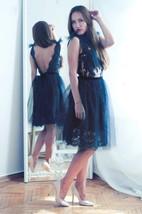 Navy Blue Lace Evening Open Back Dress