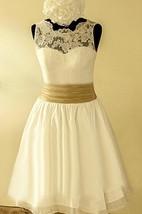 Scalloped Sleeveless Button Back Chiffon Wedding Dress With Sash And Flower