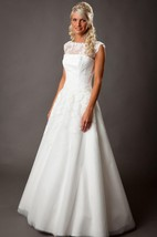 Chantelle Lace Corset A-Line Organza Wedding Dress With Open Back