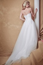 Lace on Tulle Ball Gown With Empire Waist and Full Skirt Stunning Bridal Dress
