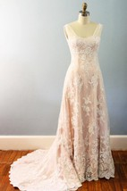 A-Line Lace Satin Weddig Dress With Draping Beading