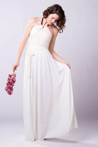 Boho Romantic Chiffon Wedding Dress With Lace Bodice and Halter Neck