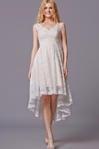 Sleeveless High Low Lace Bridesmaid Dress With V-neck