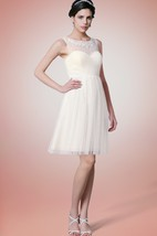 Knee Length High Neck Tulle Bridesmaid Dress