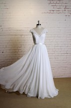 V-Neck Cap Sleeve A-Line Chiffon Wedding Dress With Lace Top and Satin Sash