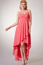 Sexy Sleeveless Empire Chiffon High-Low Dress With Spaghetti Straps