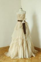 Sweetheart Lace-Up Back Long Chiffon Wedding Dress With Sash And Ruffles