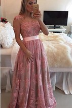 Glamorous Lace Appliques A-line Prom Dress 2016 Beadings Bowknot
