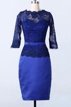Sheath Knee-length Long Sleeve Lace&Satin Dress
