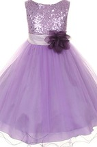 Sleeveless A-line Dress With Sequined Bodice and Flower