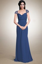 Floor Length Ruched Chiffon Dress With Lace