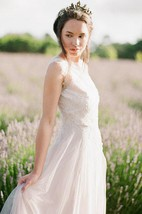 Jewel Neck Sleeveless Long Tulle Wedding Dress With Beading