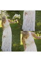 Fairy Sleeveless Jewel Neck Pleated A-line Long Lace Dress