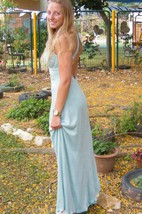 Backless Long Gown Prom Evening Backless Sexy Light Blue Cocktail Dress