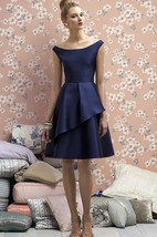 Graceful Bateau A-line Satin Dress with Side Draping