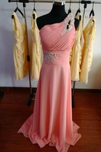One-shoulder Ruched Chiffon Dress With Beadings