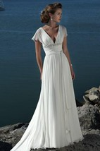 A-line Princess V-neck Short Sleeves Beading Sweep Brush Train Chiffon Beach Wedding Dress