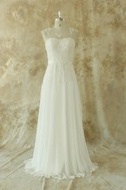 Jewel Sleeveless Low-V Back Long Chiffon Wedding Dress With Sash And Appliques