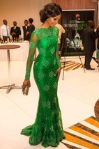Trumpet Mermaid High Neck Long Sleeves Applique Floor-Length Satin Dresses