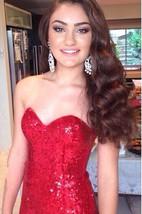 Glamorous Red Sequins Mermaid Prom Dress 2016 Sweep Train